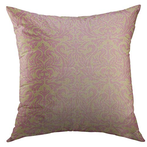 Eybfrre Pillow Cover Pink Damask Vintage Leaf Luxury Organic Abstract Home Decorative Square Throw Pillow Cushion Cover 16x16 Inch Pillowcase