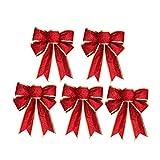 Healifty 5 x Weihnachtsschleifen aus glitzerndem Stoff für Weihnachten, Weihnachtsbaum, Geschenke, Dekoration (rot)