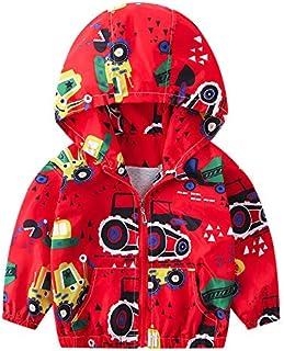 Kehen Boy's Girl's Dinosaur Print Zip Jacket Hooded Windproof Raincoat Toddler Baby Long Sleeve Hoodie Trench Coat
