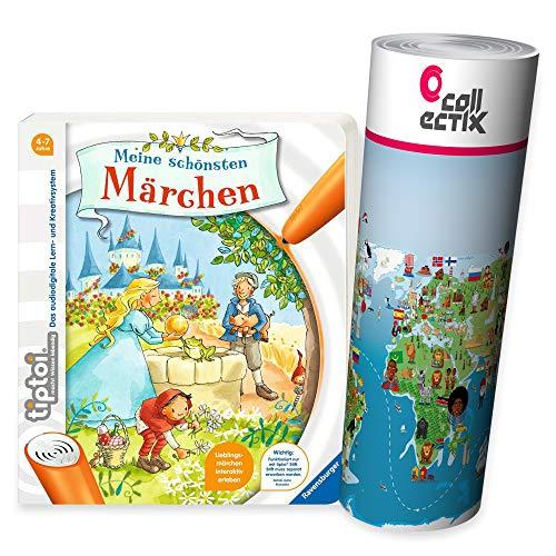 tiptoi Ravensburger Buch - Meine schönsten Märchen + exklusiver Kinder Wimmel-Weltkarte 4-7 Jahre
