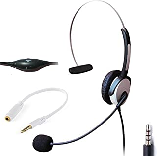Voistek Wired Cell Phone Headset with Noise Canceling Boom Mic & Adjustable Headband for iPhone Samsung LG HTC Blackberry Huawei ZTE Mobile Phone & Smartphones with 3.5mm Headphone Jack (A1H10DJ35)