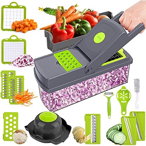 Picadora de verduras,Cortador de alimentos multifuncional con recipiente,ZJLAVECZZ 14 en 1 Cortador de verduras de mano Cortador de...