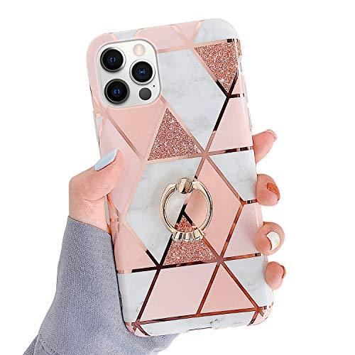 Kompatibel mit iPhone 12 Pro Max 6.7 Hülle,Glänzend Bling Glitzer Marmor Design Muster Schutzhülle mit 360 Ring Ständer Ultra Dünn Weiches TPU Silikon Gel Bumper Handyhülle Hülle Case,#1
