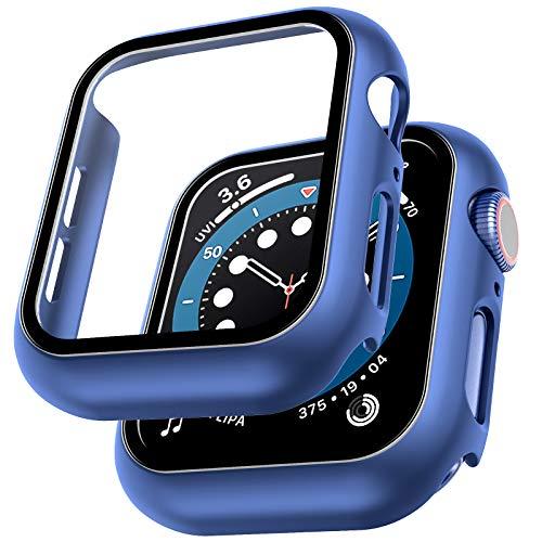 LϟK 2 Pack Funda Protector de Pantalla de Cristal Templado Incorporado para Apple Watch 44mm Series 6 5 4 SE - Estuche Protector General para PC Duro HD Ultra-Thin Carcasa para iWatch 44mm - Azul
