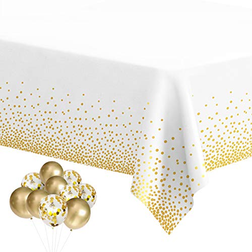 HOMIX Plastic Tablecloths for Rectangle Tables, 6 Pack Disposable Party Table Cloths, Gold Dot Confetti Table Covers with 30 Balloons for Birthday Parties Wedding Anniversary Baby Shower, 54 x 108