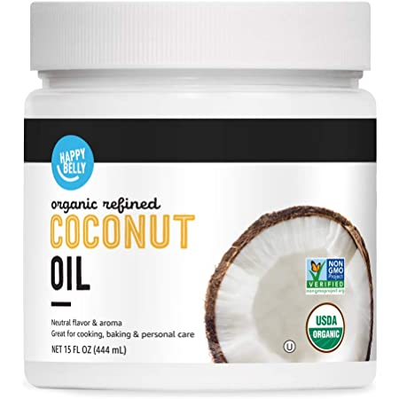 Amazon Brand - Happy Belly Organic Refined Coconut Oil, 15 Fl Oz
