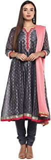 STOP by Shoppers Stop Womens Mandarin Collar Printed Embroidered Churidar Suit