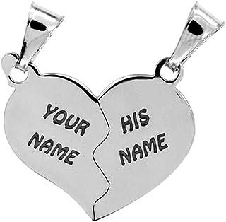 Cuore che si divide in due ciondolini a forma di mezzo cuore, in argento 925, sia per collana che per bracciale. Incisione...