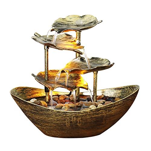Cyhamse Fontaine d'intérieur en forme de bateau avec feuille de lotus à 4 niveaux - USB LED Feng Shui - En métal - Pour la décoration intérieure du bureau - 28 × 15 × 25 cm