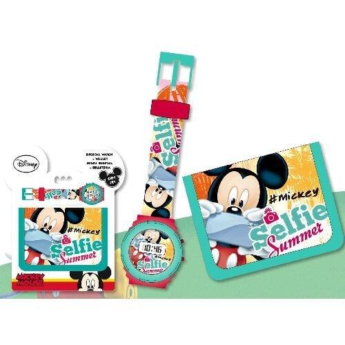 KIDS EUROSWAN Set Cadeau avec Horloge numérique et Portefeuille modèle Mickey Mouse, Composite, Multicolore, 25x 7x 20cm