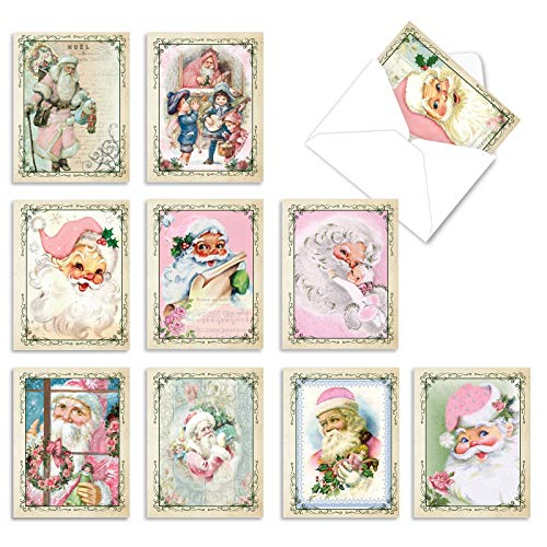 The Best Card Company - 10 Santa Christmas Note Cards with Envelopes - Assorted Boxed Set, Kids Holiday Cards (4 x 5.12 Inch) - Pink Kringle M6695XSG