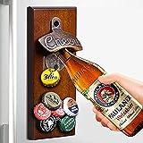 Abridor de botellas de cerveza magnético de madera con tapas de cierre automático, regalo único para hombre, papá, amigo favorito para amantes de la cerveza