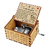 Kenon Engraved Wood Music Boxes For Daughter, Custom Vintage Hand Crank Musical Box and Your are My Sunshine Music, Christmas Birthday Gift For Daughter From Mom