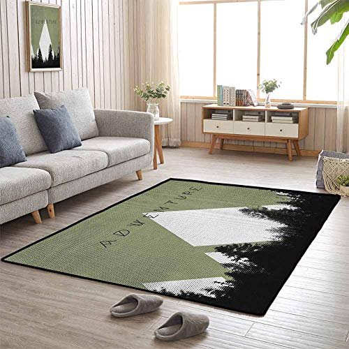 Amazing Deal Baby Play Mat Forest with Halftone Effect Hipster Typography Camping in Mountains 5'x7'...