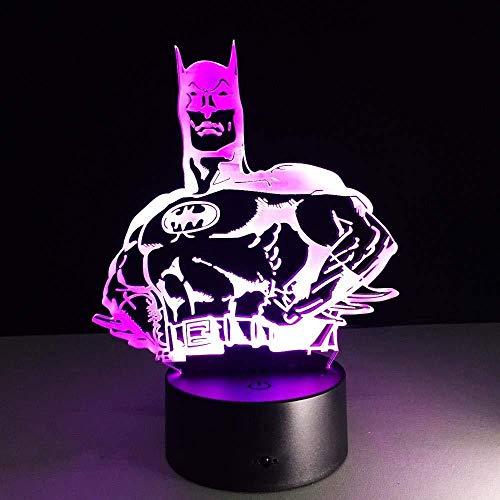 3D LED Illusion Lumière Batman 7 Couleurs Télécommande Dimensionnelle Lumière Optique Veilleuses Lampe de Table Ambiance Décoration Enfants Cadeaux D'anniversaire