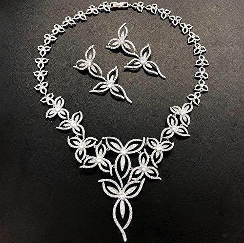 LIYDENG Juego de joyas para mujer, diseño de plantas, circonita cúbica, para boda, pendientes de novia, collar (color: Nero)