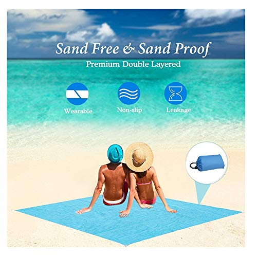 Best Sand Free Beach Blanket- 140x150cmSand Proof Mat – Travel Friendly for Festivals & Hiking- Extremely Soft Quick Drying Heat Resistant Polyester - Weighable Pockets (Gray)