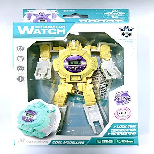 Hpjoobkle Relojes Robots, Robot Creative Kids Watch, Transformable Electrony Watch King Kong Juguete, Relojes de muñeca Digital de Cara Grande para 2-14 años, Juguetes para niños y niñas,Amarillo