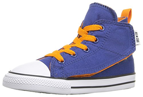 Converse Kids Boys' Chuck Taylor All Star Simple Step Hi (Infant/Toddler), Roadtrip Blue/Vivid Orange/White, 3 M