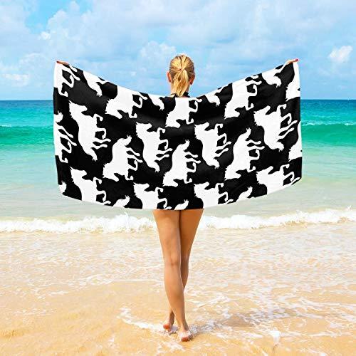 Microvezel strandlakens zwart en wit paarden groß Reisehandtuch Ultra saugstark, schnell trocknend Gym Handtuch für Herren, Frauen und Kinder