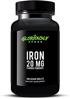 Mega Value Full Years Supply Gloriously Vegan Iron Supplement - 20mg Iron Per Serving to Support Healthy Iron Levels & Energy
