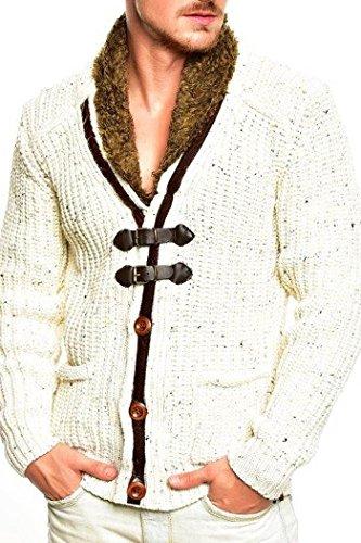 Tazzio Strickjacke mit Knebelverschluss Pullover 14-418 [Ecru, S]