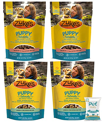 (4 Pack) Zuke Puppy Naturals Training Dog Treats Crafted in The USA, Salmon and Lamb 5oz with 10ct Pet Wipes
