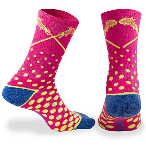 ChalkTalkSPORTS Athletic Half Cushioned Lacrosse Crew Socks | Mid Calf | Malibu Neon Lacrosse Design | Multi-Color