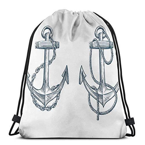 Mochilas Estampadas con cordón, boceto Vintage, Barco náutico, Tema de Viaje, Cuerda de Cadena artística, Cierre de Cuerda Ajustable