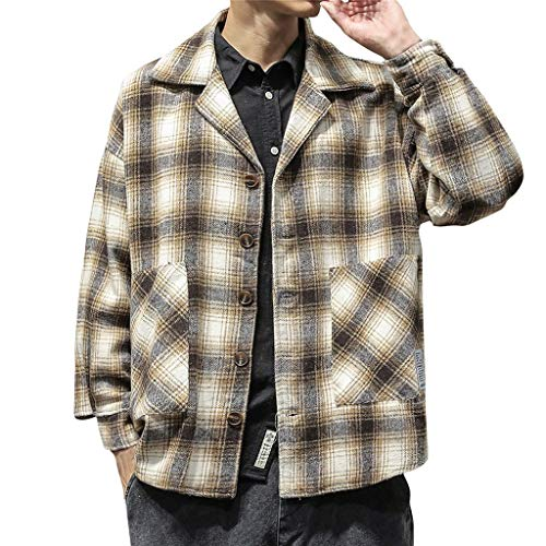 Kariert Wolljacke Herren für Herren-Jacken, Vintage Jacke Herren Winter Winterjacket Retro Revers Wollmantel Freizeitjacke Bluse Hemd Große Größen Streetwear Parka