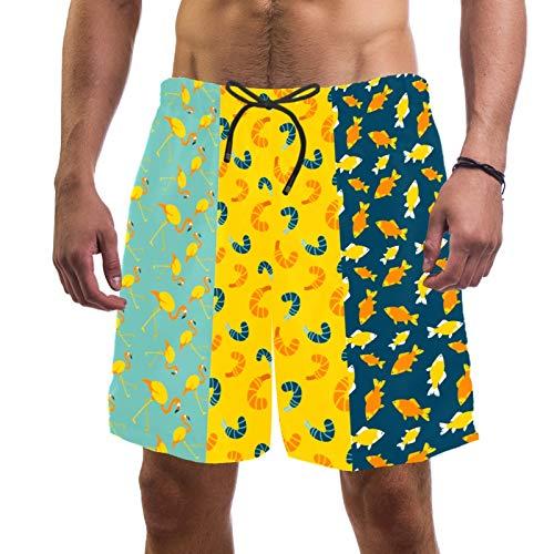 Pantalones cortos de playa de surf para hombre de secado rápido con bolsillo de dibujos animados de pez flamenco