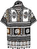 LA LEELA botón del Cuello propagación de los Hombres Abajo Bolsillo Delantero Camisa Hawaiana Ocasional S-Pecho Contorno (in cms):96-101 Marrón_AA105