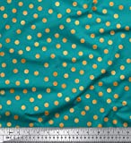 Soimoi Grun Baumwoll-Popeline Stoff Polka dots Stoff