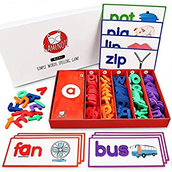 GAMENOTE See and Spell Learning Toy - Matching Letter Game CVC Word Builders Kindergarten Preschool Learning Toys  Include 50 Flash Cards & 150 Letters