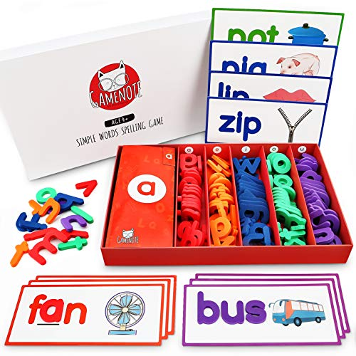 Gamenote See and Spell Learning Toy - Matching Letter Game CVC Word Builders Kindergarten Preschool Learning Toys (Include 50 Flash Cards & 150 Letters)