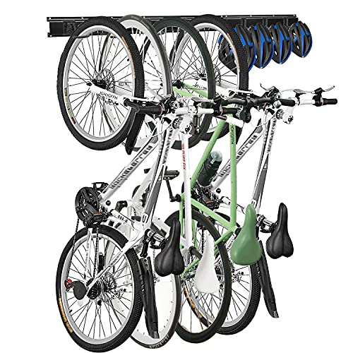 JGHJGFFH Wall Bike Rack Hanger Storage Garage Organizer,8 Hooks and 3 Rails,Wall Mount Metal Black Adjustable Heavy Duty Vertical Bicycle Storage System for Home Indoor Space Saving.