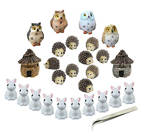 niCWhite Miniature Garden Ornaments, 26pcs Miniature Ornaments Kit Set Fairy Garden Figurines Accessories for DIY Dollhouse Plant Pot Decoration,with 1pcs Tweezer