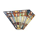 Cotoss Tiffany Wall Sconce, Stained Glass Sconces Wall Lighting, Tiffany Wall Lights, Mission Style Wall Light Fixtures, Hand Crafted Indoor Sconce W12'