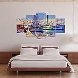 HQATPR Cuadros Decoracion Paris Venecia Shuicheng Impresiones de Lienzo Obras de Arte Pinturas Pintura Decorativa Hotel Pasillo Cinco Piezas Collage Pintura