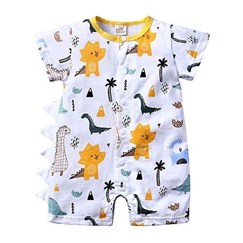 YOJOLO Nouveau-Né Bébé Garçon Fille Dinosaure Combinaison D'été Barboteuses À Manches Courtes Pyjamas Body Tenues Globales,Blanc,6~9 Month