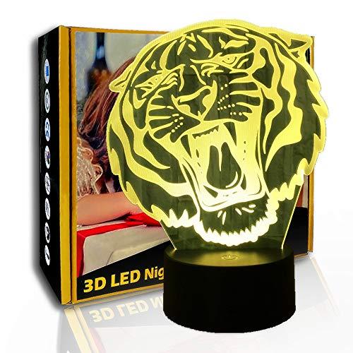 JINYI Lámpara de ilusión visual 3D Tiger, luz de noche LED, lámpara de mesa para niños, C- Touch Crack Blanco (7 colores), Niño Lámpara, Regalo de Navidad