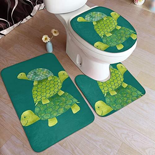 Beauty-Design - Set di 3 tappetini da Bagno a Forma di Tartaruga, Antiscivolo, Assorbente, a Forma di U, copriwater Allungato