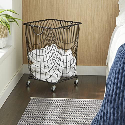 Product Image of the CosmoLiving by Cosmopolitan 29021 Large Rectangular Black Metal Mesh Hamper...