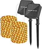 2 Pack 2021 Upgraded Outdoor Solar String Lights, Each 72ft 200 LED Waterproof Fairy Lights with Copper Wire & 8 Modes for DIY Wedding Party Patio Birthday Garden Trees Decor (Warm White)