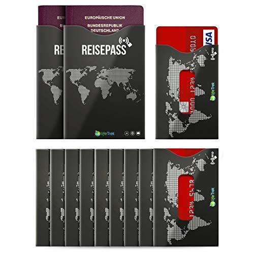 lifeTrek RFID Blocker Schutzhüllen TÜV geprüft mit Sichtfenster für Karten und Reisepass (10+2 Set) Beste Sicherheit für Kreditkarten, Bank Hotel und EC-Karten Personalausweis vor Betrug
