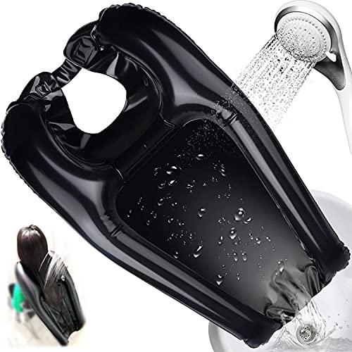 Bandeja Inflable para Lavar el Cabello Lavabo Portátil para Champú en la Cama o en Silla de Ruedas para Ancianos Negro