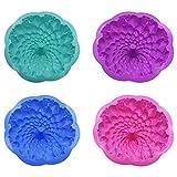 Silicone Flower Torta Stampo, 4 pezzi a forma di fiore in silicone cake Bread Pie flan Tart Molds, grande rotonda girasole crisantemo forma antiaderente teglie
