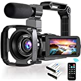 4K Video Camera, Ultra HD 48MP Vlogging Camera with 3.0 Inch 270° Rotatable Touch Screen, 16X Digital Zoom IR Night Vision Camcorder, 4K Camcorder with Microphone Handheld Stabilizer Lens Hood Remote