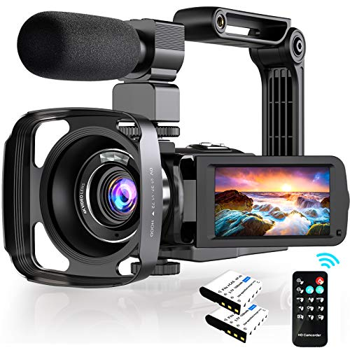 4K Camcorder, Video Camera for Youtube Ultra HD 48MP with WiFi 3.0 Inch 270°Rotatable Touch Screen, IR Night Vision 16X Digital Zoom IR Night Vision,Microphone Handheld Stabilizer Lens Hood Remote.