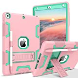 BENTOBEN iPad 8th Generation Case, iPad 7th Generation Case, iPad 10.2 2020/2019 Case, 3 in 1 Heavy Duty Rugged Shockproof Kickstand Protective Cover with Pen Holder for Girls Women, Rose Gold/Green